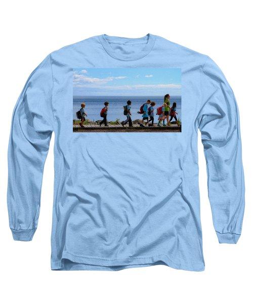 Children On Lake Walk Long Sleeve T-Shirt