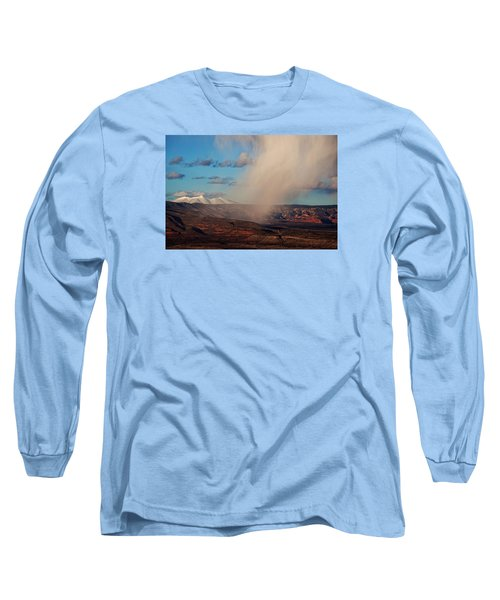 Long Sleeve T-Shirt featuring the photograph Christmas Day Snow Mix San Francisco Peaks by Ron Chilston