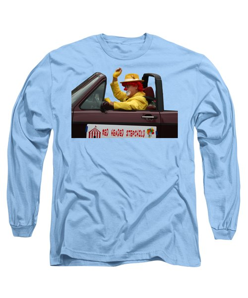 Christmas Parade Clown In Car Long Sleeve T-Shirt by EricaMaxine Price