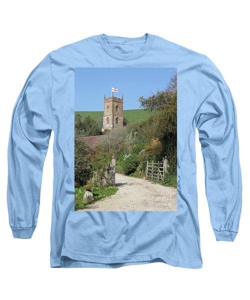 Long Sleeve T-Shirt featuring the photograph Church And The Flag by Linda Prewer