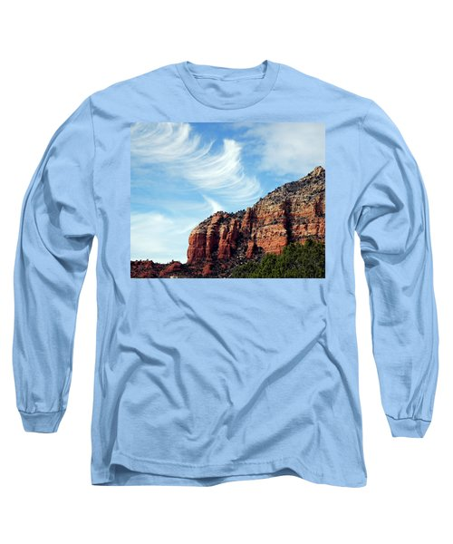 Long Sleeve T-Shirt featuring the photograph Cirrus Clouds Over The Mesa by Lynda Lehmann