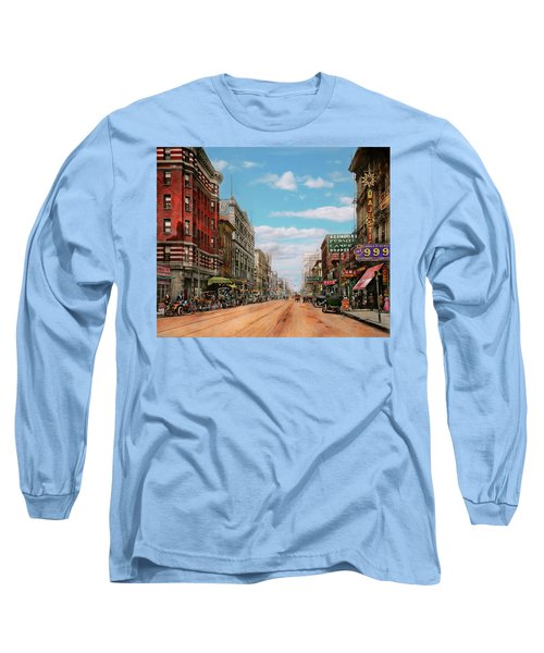 Long Sleeve T-Shirt featuring the photograph City - Memphis Tn - Main Street Mall 1909 by Mike Savad