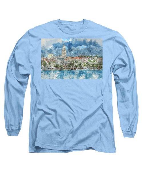City Of Split In Croatia With Birds Flying In The Sky Long Sleeve T-Shirt