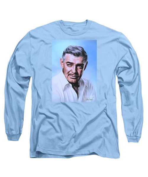 Long Sleeve T-Shirt featuring the painting  Clark Gable 2 by Andrzej Szczerski
