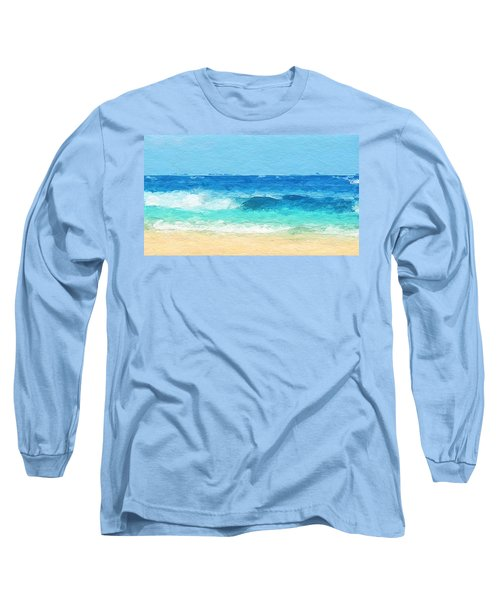 Clear Blue Waves Long Sleeve T-Shirt by Anthony Fishburne