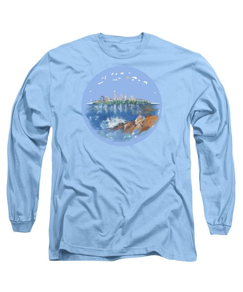 Cleveland Skyline Plate Long Sleeve T-Shirt by Mary Armstrong