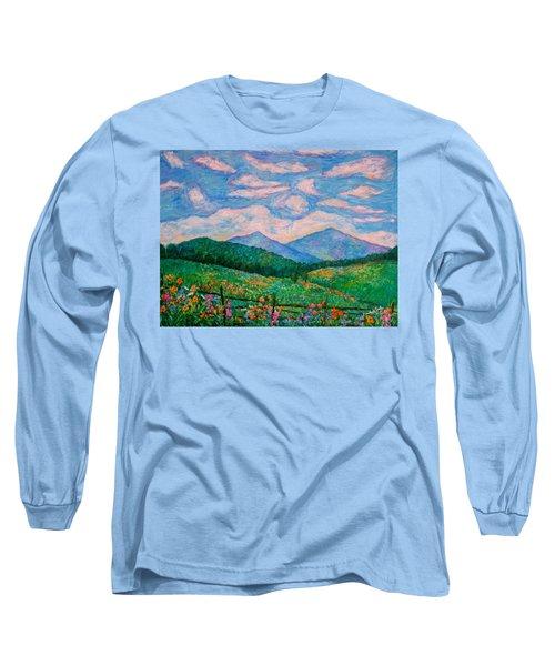 Cloud Swirl Over The Peaks Of Otter Long Sleeve T-Shirt by Kendall Kessler