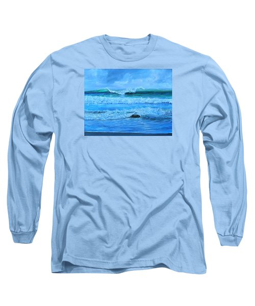 Long Sleeve T-Shirt featuring the painting Cocoa Beach Surf by AnnaJo Vahle