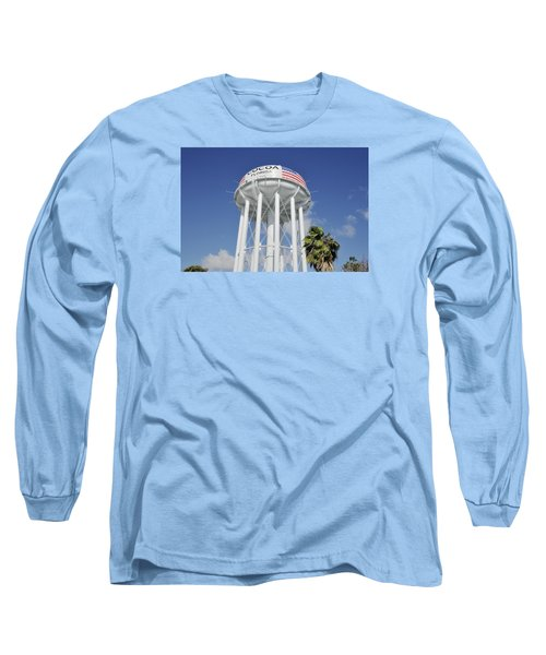 Long Sleeve T-Shirt featuring the photograph Cocoa Water Tower With American Flag by Bradford Martin