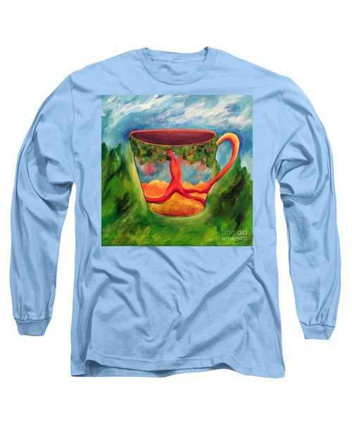 Long Sleeve T-Shirt featuring the painting Coffee In The Park by Elizabeth Fontaine-Barr