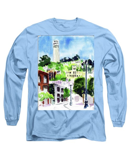 Coit Tower From The Embarcadero Long Sleeve T-Shirt by Tom Simmons