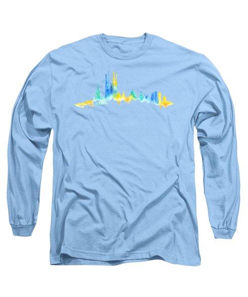 Color Barcelona Skyline 02 Long Sleeve T-Shirt by Aloke Creative Store