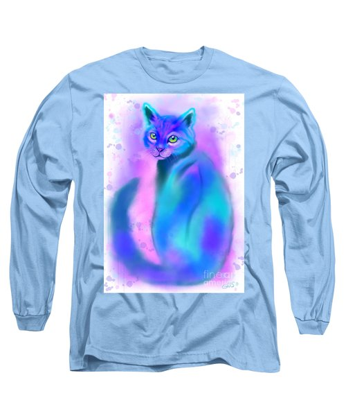 Long Sleeve T-Shirt featuring the painting Color Wash Cat by Nick Gustafson