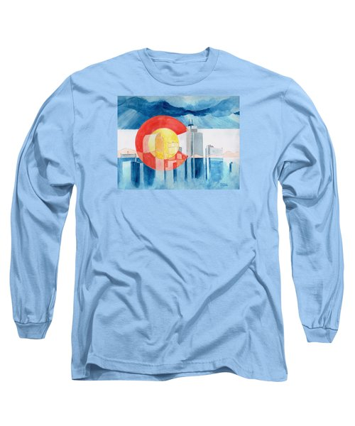 Long Sleeve T-Shirt featuring the painting Colorado Flag by Andrew Gillette