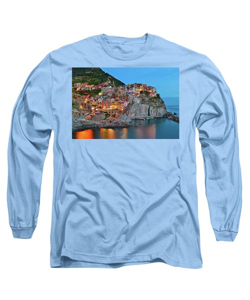 Long Sleeve T-Shirt featuring the photograph Colorful Buildings Colorful Lights by Frozen in Time Fine Art Photography
