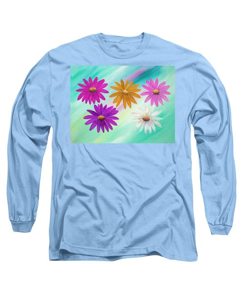 Long Sleeve T-Shirt featuring the mixed media Colorful Daisies by Elizabeth Lock