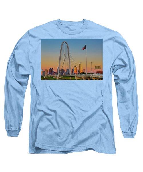Colorful Dallas Sunset Long Sleeve T-Shirt by John Roberts