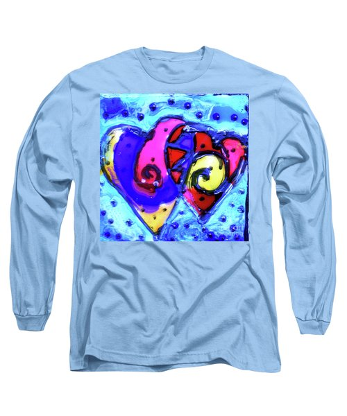 Long Sleeve T-Shirt featuring the painting Colorful Hearts Equals Crazy Hearts by Genevieve Esson