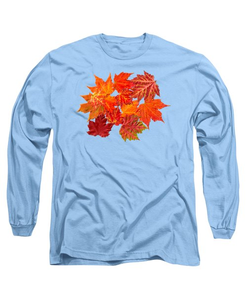 Long Sleeve T-Shirt featuring the mixed media Colorful Maple Leaves by Christina Rollo