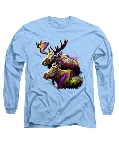Colorful Moose Long Sleeve T-Shirt by Anthony Mwangi