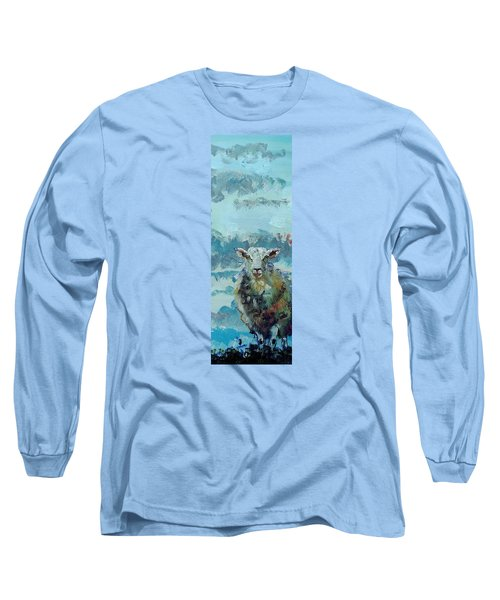 Colorful Sky And Sheep - Narrow Painting Long Sleeve T-Shirt
