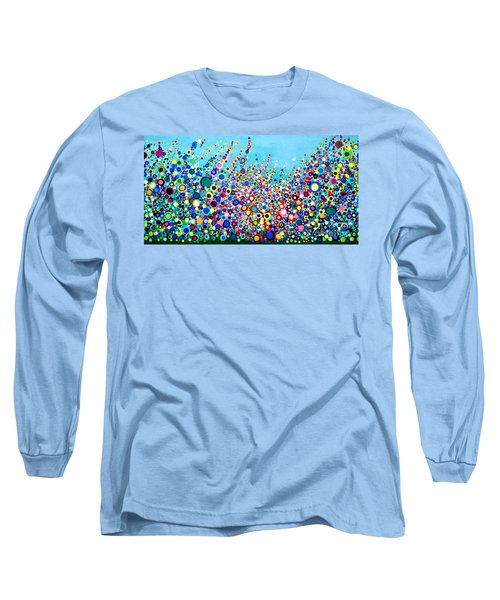 Long Sleeve T-Shirt featuring the painting Colorful Spring Flowers by Maja Sokolowska