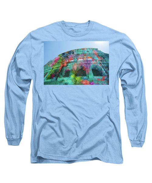 Long Sleeve T-Shirt featuring the mixed media Colourful Grungy Colosseum In Rome by Clare Bambers