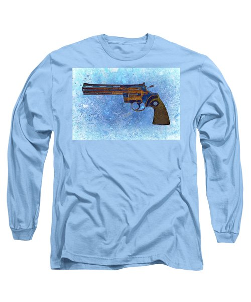Colt Python 357 Mag On Blue Background. Long Sleeve T-Shirt by M L C