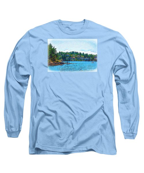 Long Sleeve T-Shirt featuring the digital art Coming Into Friday Harbor by Kirt Tisdale