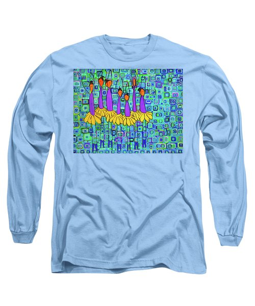 Long Sleeve T-Shirt featuring the painting Coneflower Ballet by Donna Howard