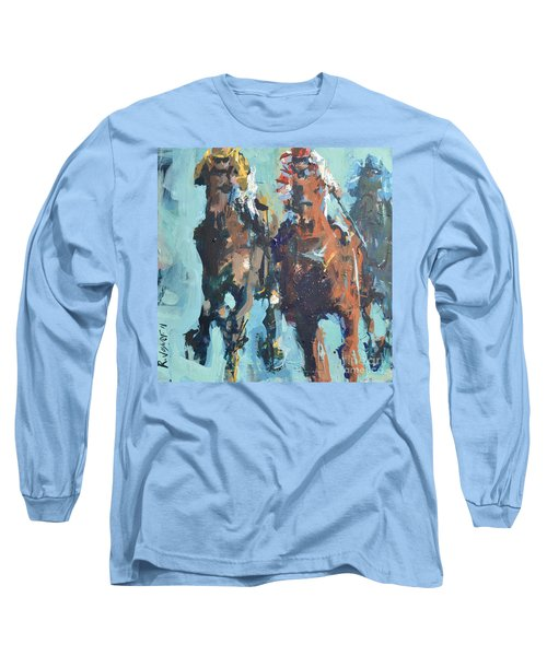 Long Sleeve T-Shirt featuring the painting Contemporary Horse Racing Painting by Robert Joyner