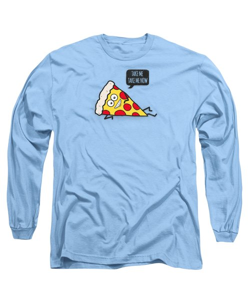 Cool And Trendy Pizza Pattern In Super Acid Green   Turquoise   Blue Long Sleeve T-Shirt