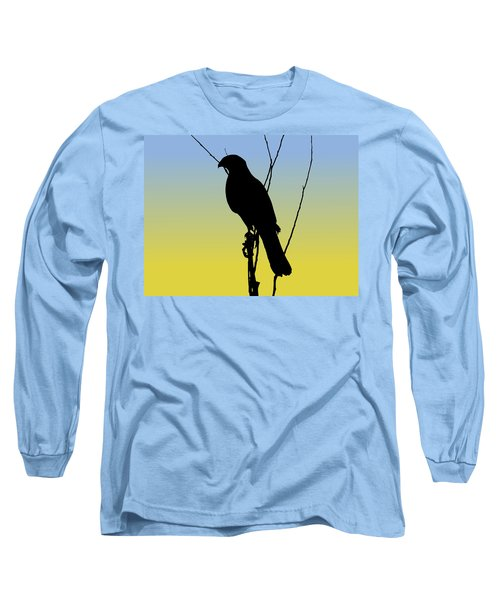 Coopers Hawk Silhouette At Sunrise Long Sleeve T-Shirt