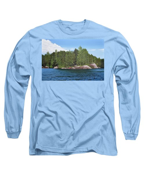 Long Sleeve T-Shirt featuring the painting Cottage View Silver Lake by Kenneth M Kirsch