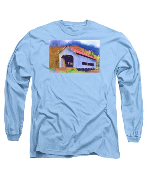 Covered Bridge With Red Roof Long Sleeve T-Shirt by Kirt Tisdale