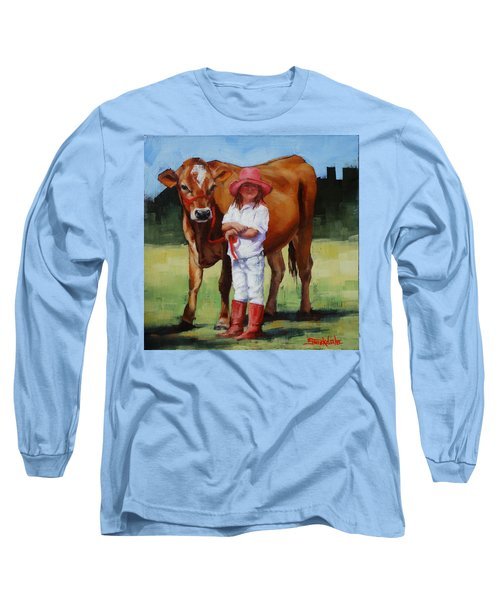 Long Sleeve T-Shirt featuring the painting Cowgirl Besties by Margaret Stockdale
