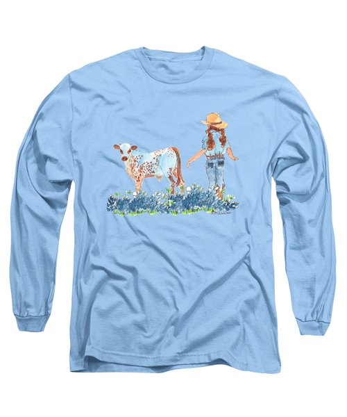 Cowgirl Calf In The Bluebonnets Pe005 Long Sleeve T-Shirt