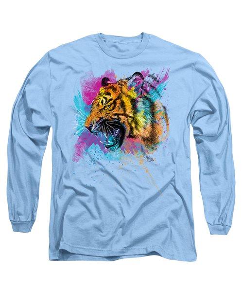 Crazy Tiger Long Sleeve T-Shirt by Olga Shvartsur