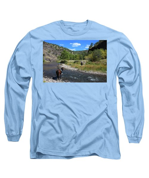 Crossing The Gila On Horseback Long Sleeve T-Shirt