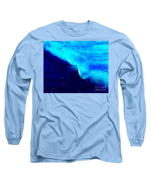 Crystal Blue Wave Painting Long Sleeve T-Shirt by Catherine Lott
