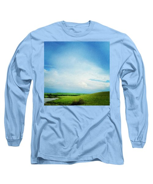 Cultivating Green And Blue Landscape Long Sleeve T-Shirt