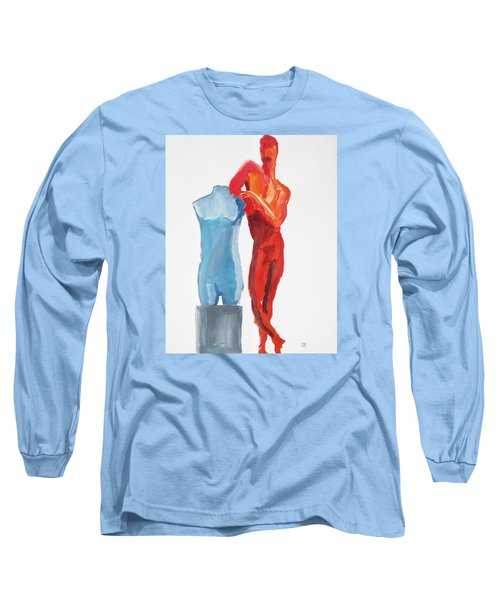 Long Sleeve T-Shirt featuring the painting Dancer With Mannekin by Shungaboy X