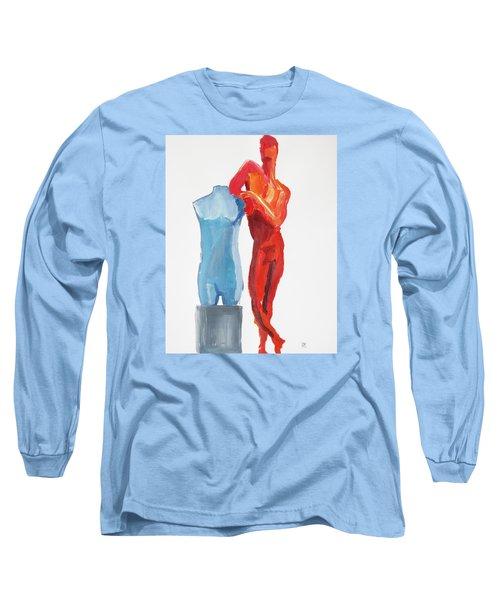 Dancer With Mannekin Long Sleeve T-Shirt by Shungaboy X