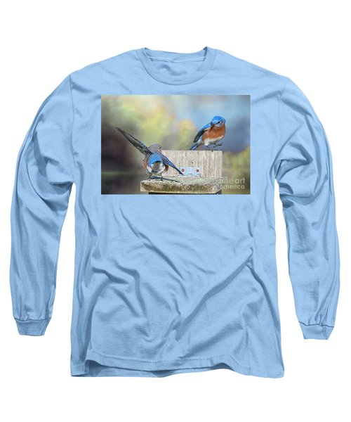 Dancing Bluebirds Long Sleeve T-Shirt by Bonnie Barry