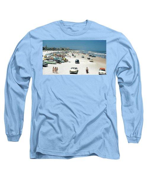 Daytona Beach Florida - 1957 Long Sleeve T-Shirt by Merton Allen
