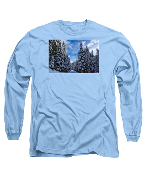 Deep In The Snowy Forest Long Sleeve T-Shirt by Lynn Hopwood