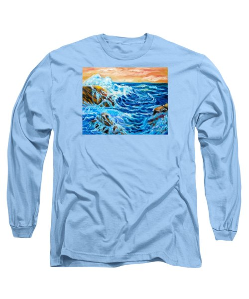Long Sleeve T-Shirt featuring the painting Deep by Jenny Lee