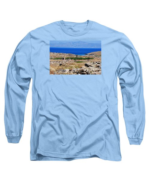 Long Sleeve T-Shirt featuring the photograph Delos Island View Of Agean by Robert Moss