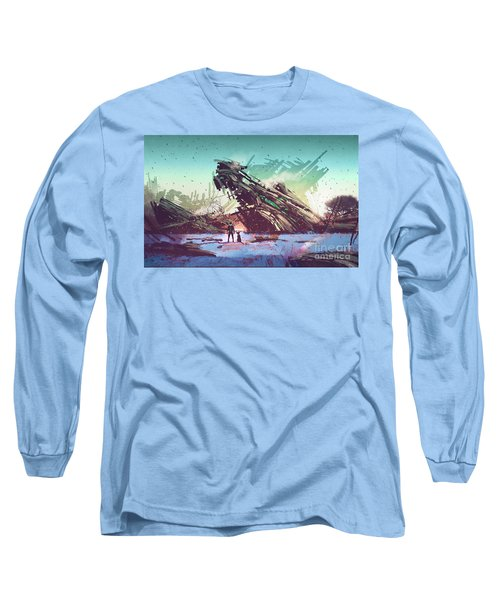 Long Sleeve T-Shirt featuring the painting Derelict Ship by Tithi Luadthong