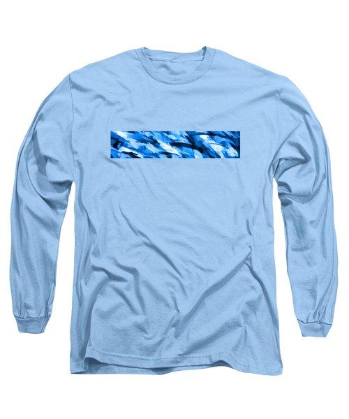 Designer Camo In Blue Long Sleeve T-Shirt